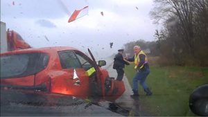 SUV, Semi, and Police Collision in Michigan